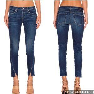 AMO Twist Crop Jean In True Blue